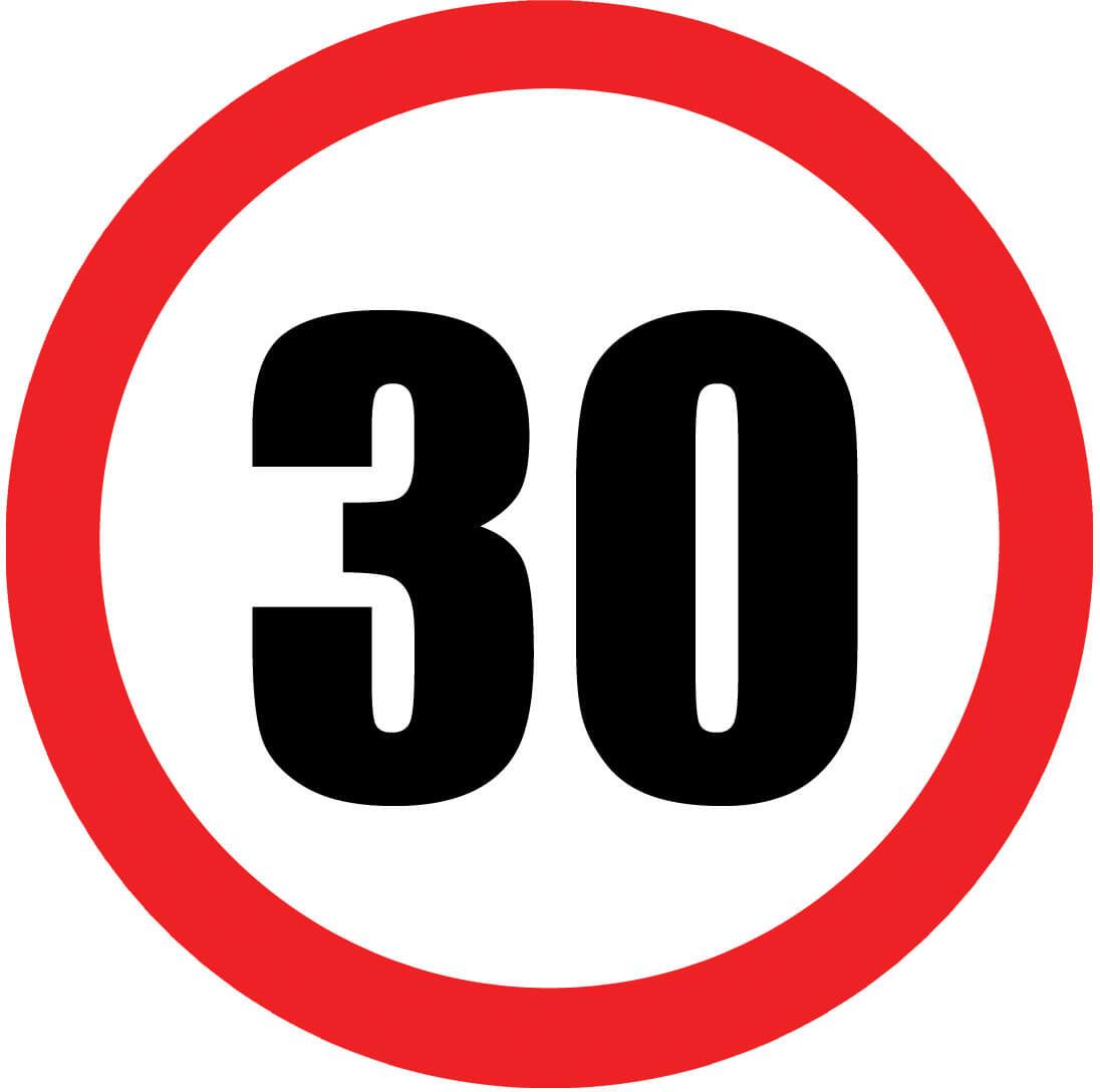 Dekoracyjny jadalny opłatek tortowy Znak zakazu na 30-ste urodziny - 20 cm