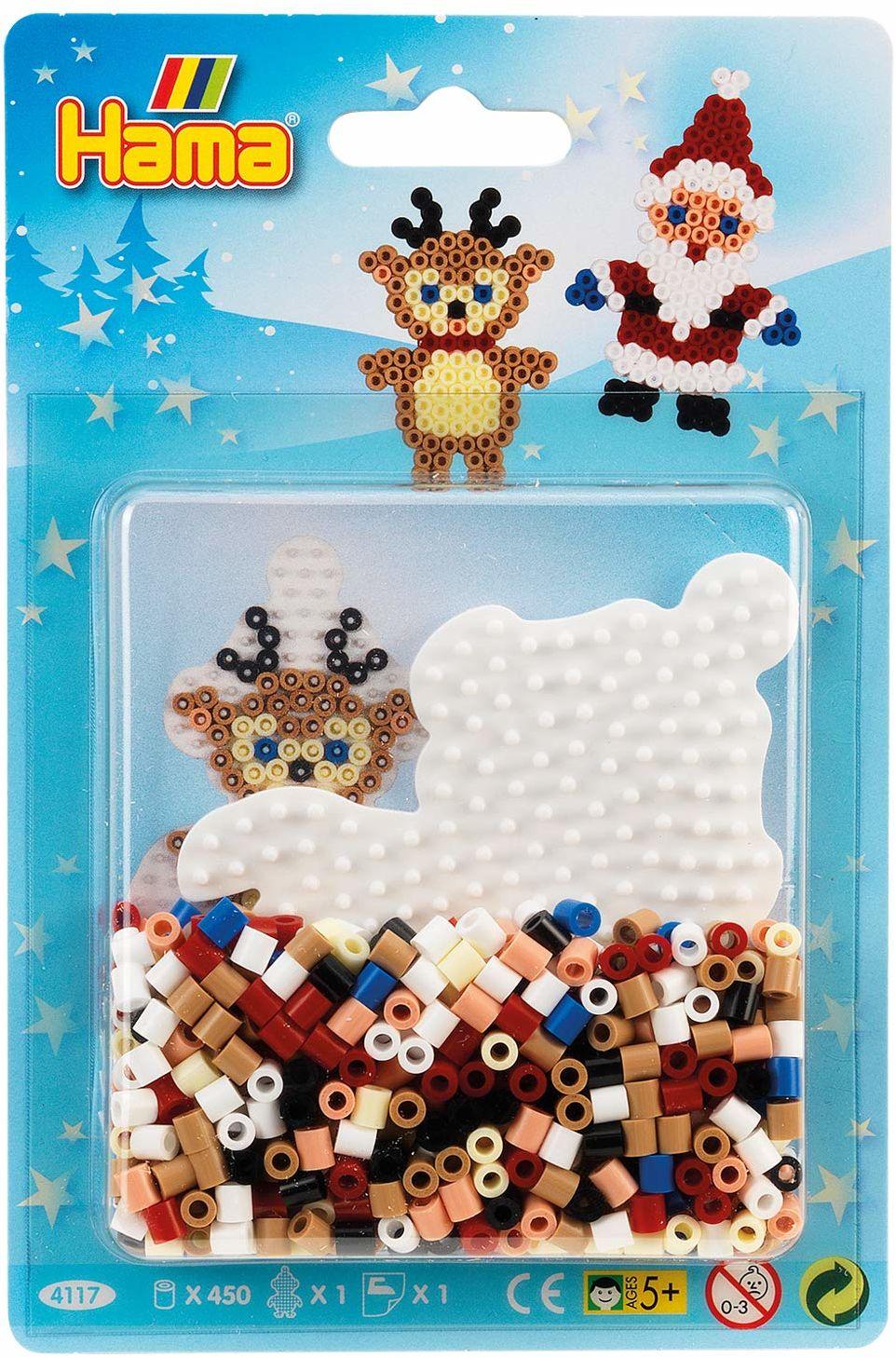 Hama Perlen 4117 małe opakowanie blistrowe Boże Narodzenie, koraliki do prasowania Midi, ok. 450 sztuk łącznie z płytką na długopis pingwin i akcesoriami