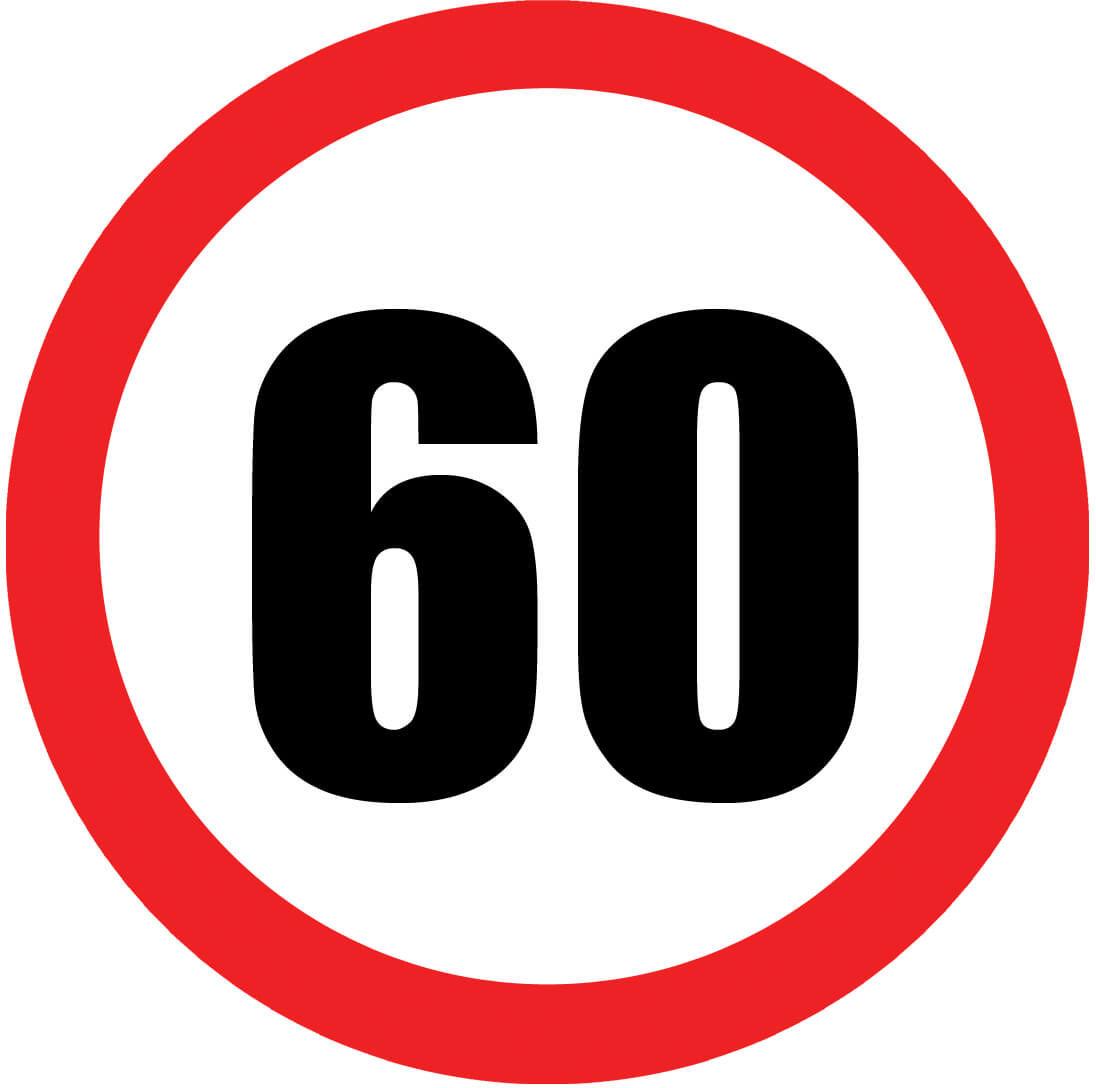 Dekoracyjny jadalny opłatek tortowy Znak zakazu na 60-te urodziny - 20 cm