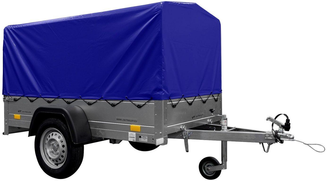 Przyczepka samochodowa lekka 200 x 106 z kołem podporowym, plandeką niebieską i stelażem DMC 750 KG Garden Trailer 200 KIPP