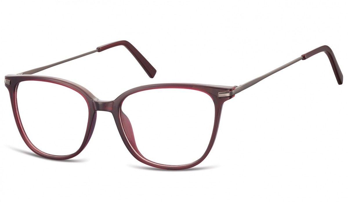 Okulary oprawki zerówki korekcyjne Nerdy Unisex Sunoptic AC26D bordowe