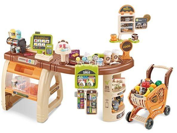 WOOPIE Sklep Supermarket Wózek Kasa Ruchome Elementy + 65 akc.