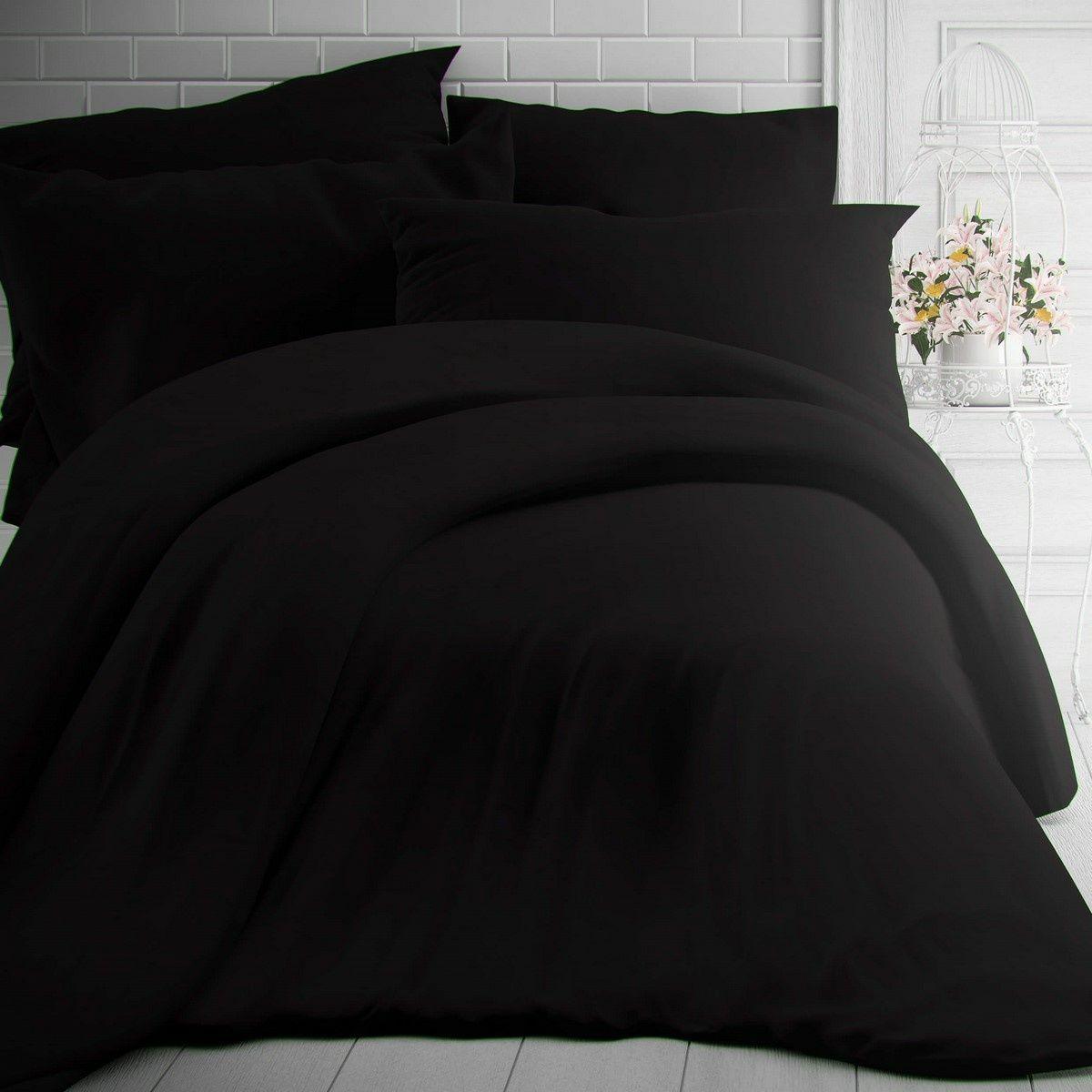Kvalitex Pościel bawełniana czarna, 140 x 200 cm, 70 x 90 cm, 140 x 200 cm, 70 x 90 cm