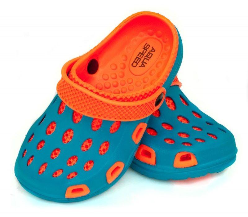 Klapki basenowe AquaSpeed Silvi 01 niebiesko-pomarańczowe
