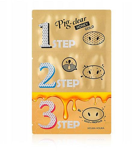 Holika Holika Pig-Clear Honey Gold 3- Step Kit Zestaw oczyszczający pory, z 24 karatowym złotem 5 g