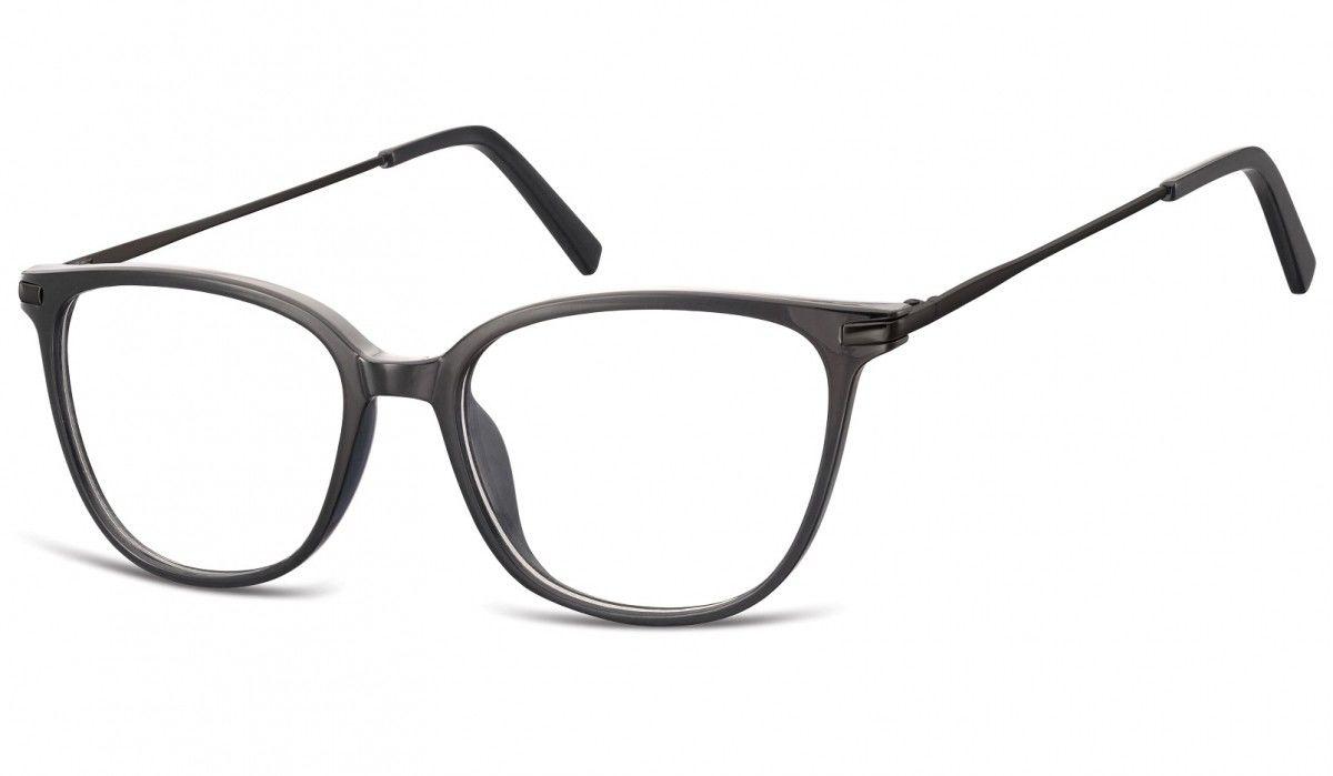 Okulary oprawki zerówki korekcyjne Nerdy Unisex Sunoptic AC26G czarne + czarny zausznik