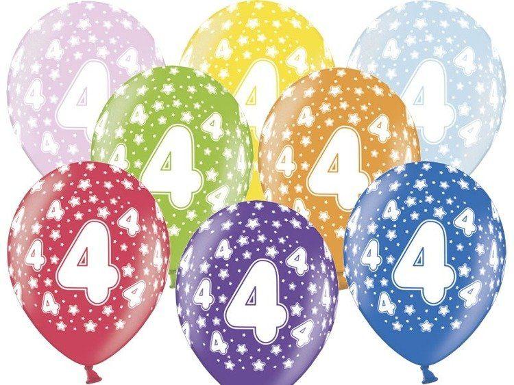 Balony 4 na czwarte urodziny 6 sztuk SB14M-004-000-6