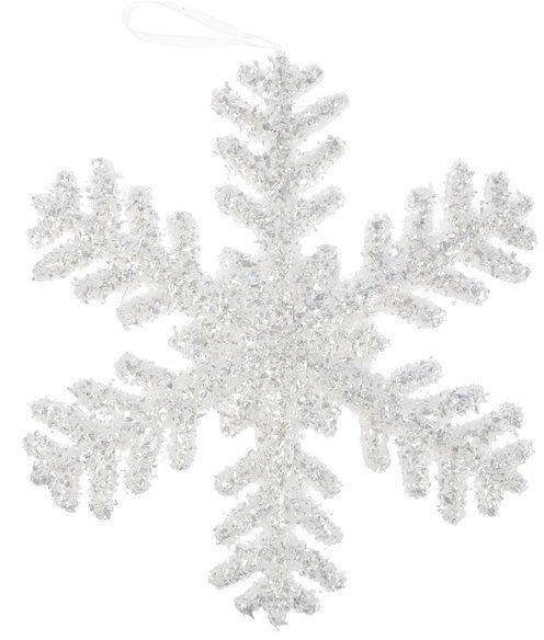Ozdoba choinkowa śnieżynka brokatowa srebrny 23 cm 1szt BN0318