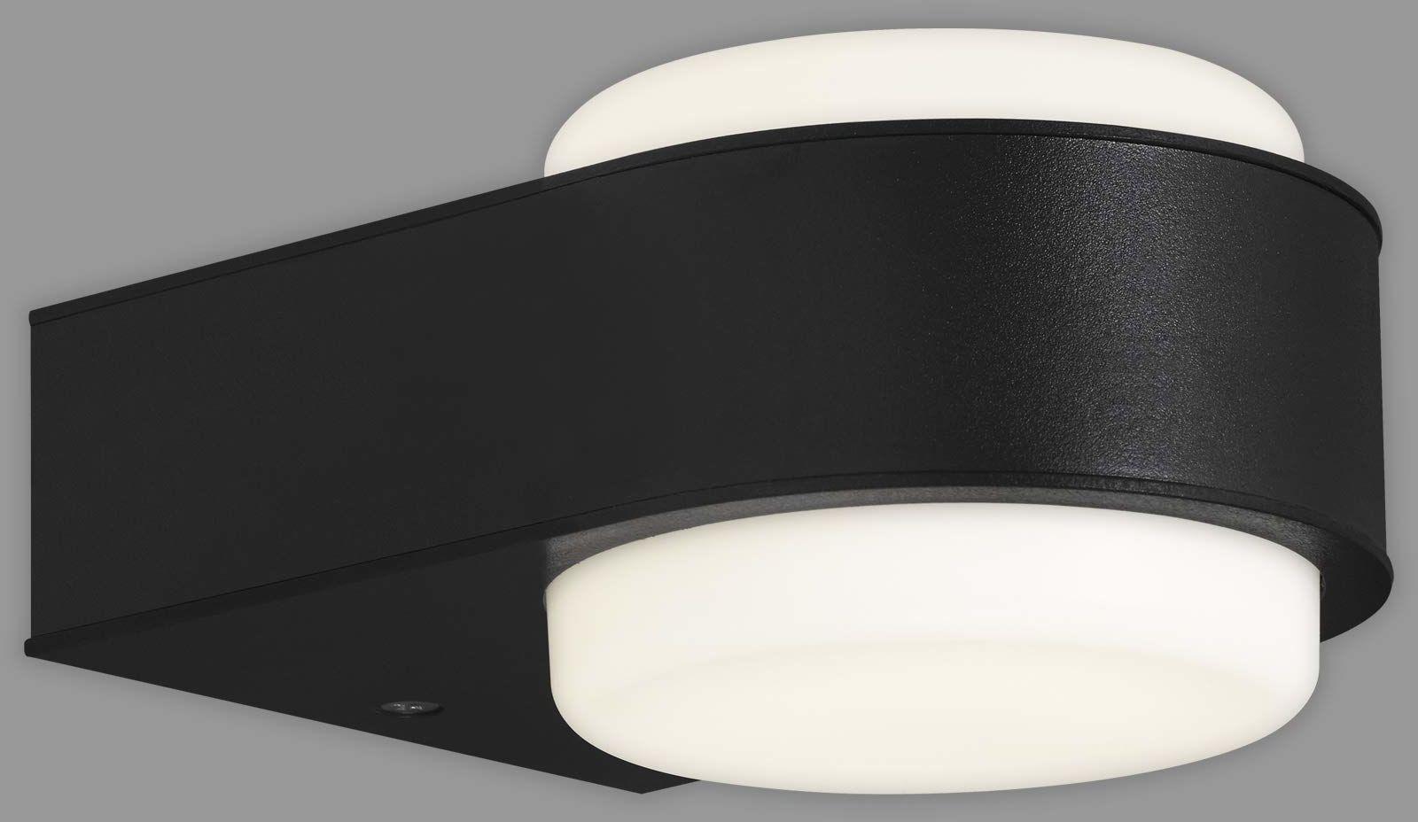 Briloner Leuchten - Zewnętrzna lampa LED, zewnętrzna lampa ścienna IP44, 6,5 W, 650 lumenów, 4000 kelwinów, czarna, 144 x 104 x 69 mm (dł. x szer. x wys.)