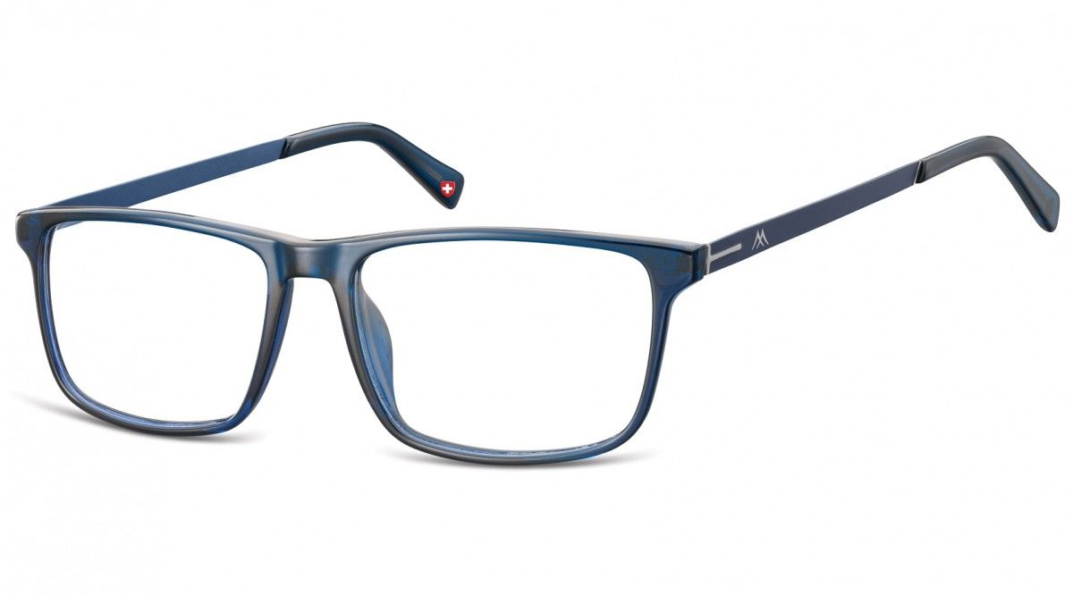 Okulary oprawki zerówki korekcyjne Nerdy Unisex Montana MA59B ciemne niebieskie + niebieski zausznik