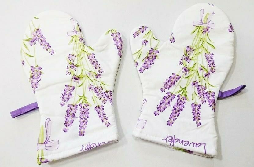 Rękawice kuchenne 17x27 z magnesem 2 szt 1600E białe lawenda 1044N 9628