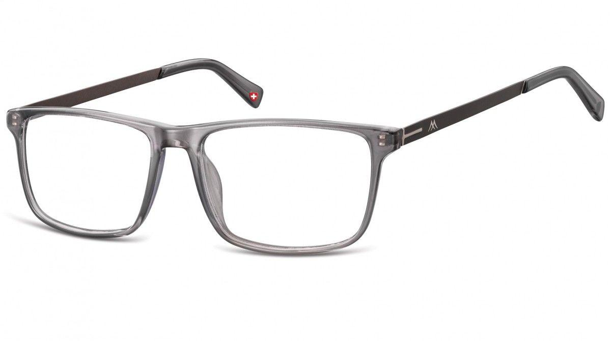 Okulary oprawki zerówki korekcyjne Nerdy Unisex Montana MA59C szare + grafitowy zausznik