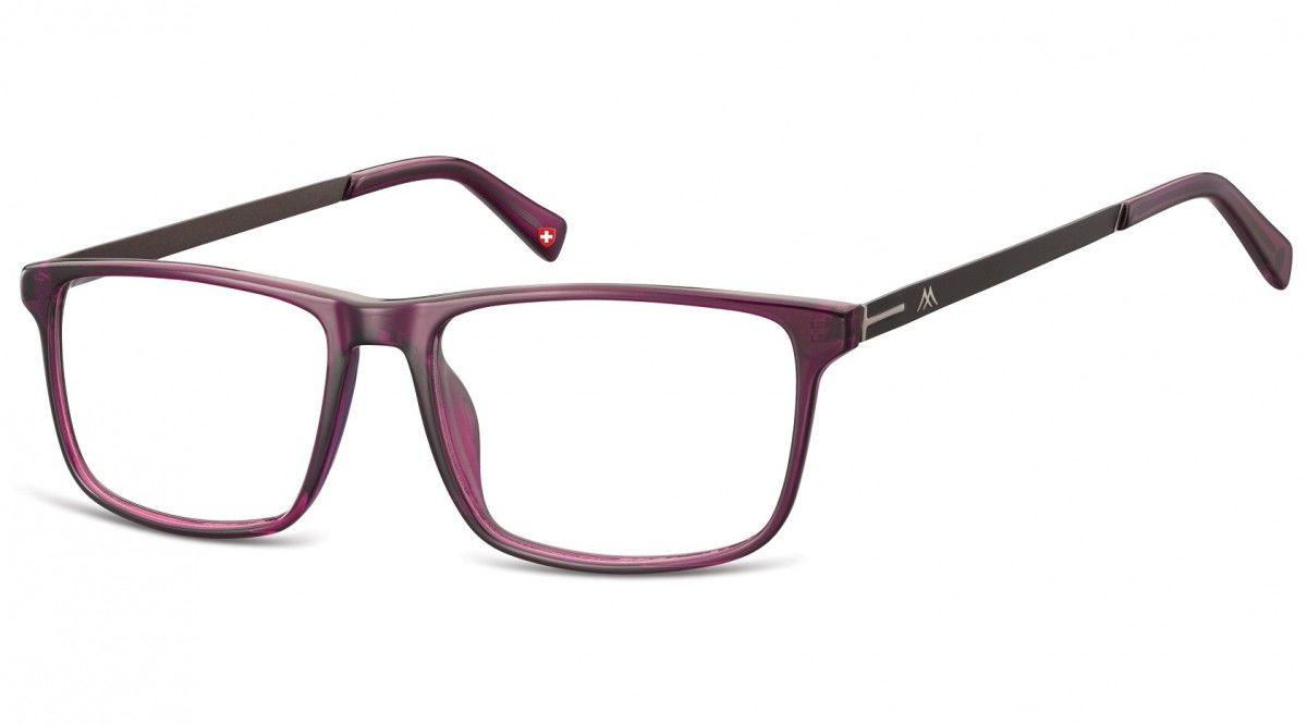 Okulary oprawki zerówki korekcyjne Nerdy Unisex Montana MA59E fioletowe + grafitowy zausznik
