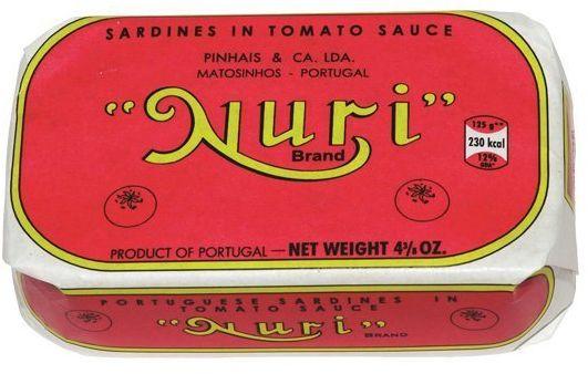 Sardynki portugalskie w pomidorach i oliwie z oliwek NURI 125g