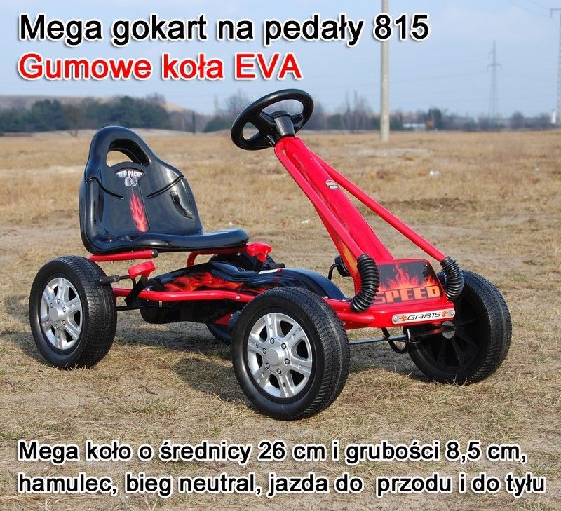 MEGA GOKART MIĘKKIE KOŁA EVA 3-7 lat SUPER JAKOŚĆ/GA815