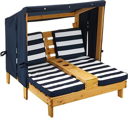KidKraft 00524 podwójny leżak do opalania z uchwytami na napoje, podwójny leżak, szezlong z drewna, kolor miodowy