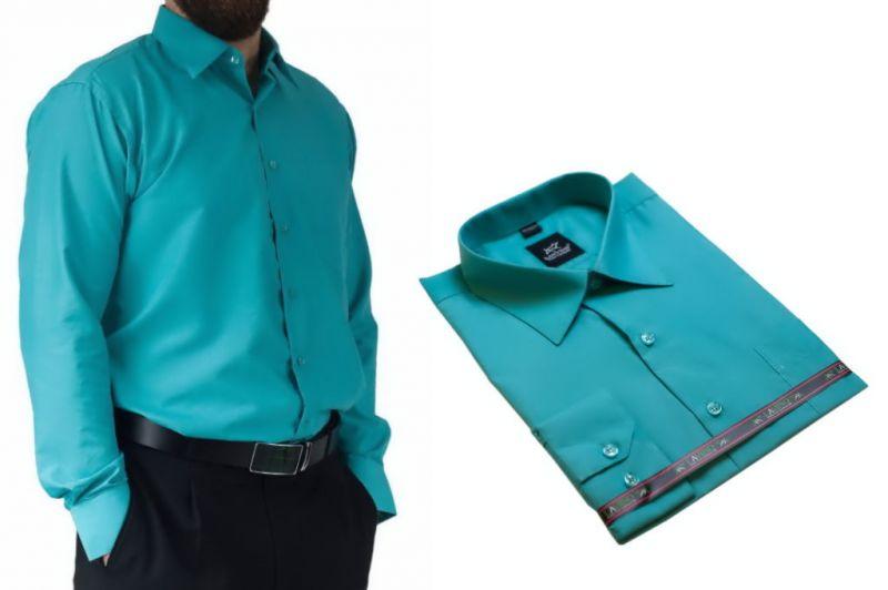 Koszula męska wizytowa zielono-niebieska Laviino dl94