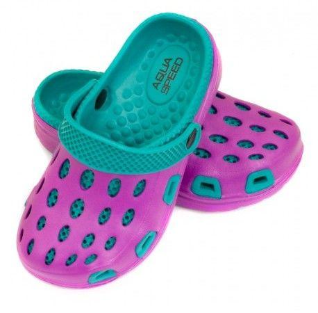 Klapki basenowe AquaSpeed Silvi 09 fioletowo/niebieskie