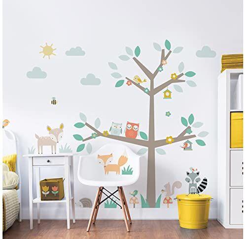 Walltastic Woodland drzewo i przyjaciele postać naklejka ścienna, winyl, wielokolorowa, 7 x 7 x 52,5 cm
