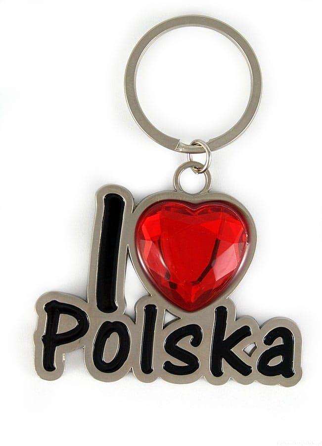 Brelok metalowy I love Polska - rubin