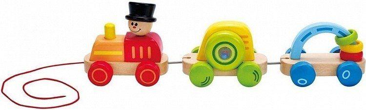 Aktywny pociąg drewniany, E0431-Hape, zabawki dla najmłodszych