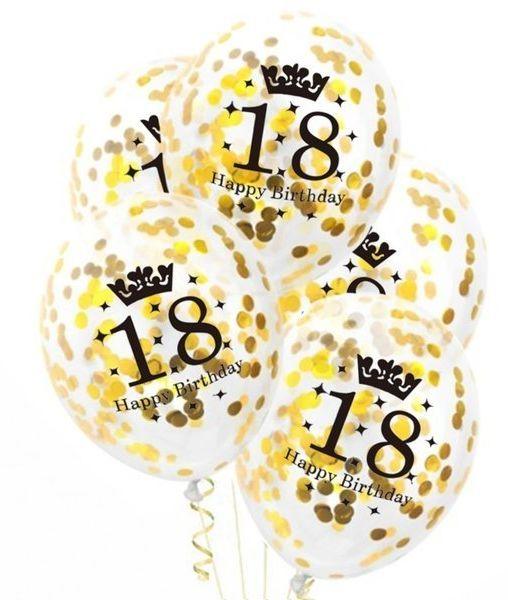 Balony na 18 urodziny Happy Birthday ze złotym konfetti 30cm 5 sztuk 400594-5x