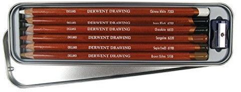 Zestaw Kredek Derwent Drawing 6 kolorów z Temperówką (Metalbox)