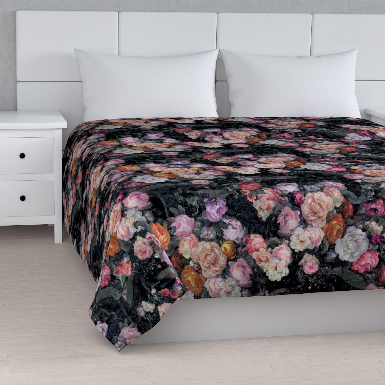 Narzuta pikowana w pasy, wielobarwne kwiaty na ciemnym tle, szer.170  dł.210 cm, Gardenia