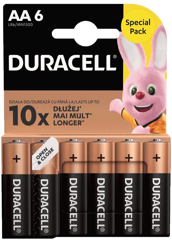 6 x bateria alkaliczna Duracell Basic Duralock LR6 AA (blister)