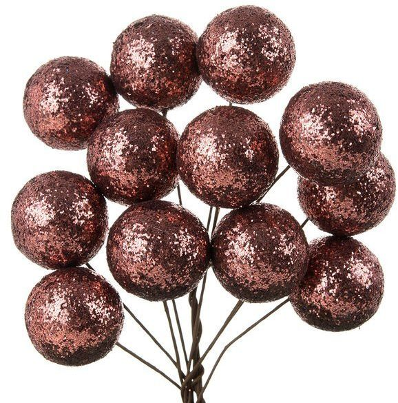Bombki brokatowe czekoladowe 2,5cm 12 sztuk 602848