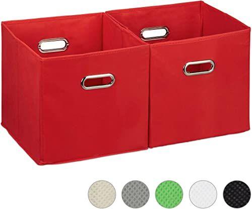Relaxdays Pudełko do przechowywania zestaw 2 szt. kosz regałowy bez pokrywki, z uchwytem, składane, pudełko z materiału kwadratowe, 30 cm, czerwony