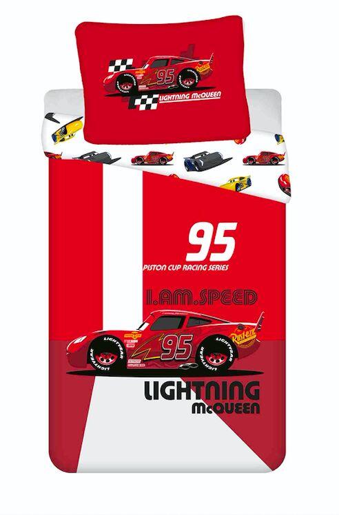Pościel bawełniana 140x200 Cars Auta 8353 I am speed Zygzak McQueen poszewka 70x90 czerwona dziecięca