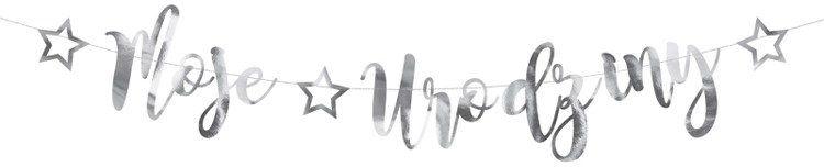 Baner Moje Urodziny srebrny 90cm 1szt. GRL82-018M