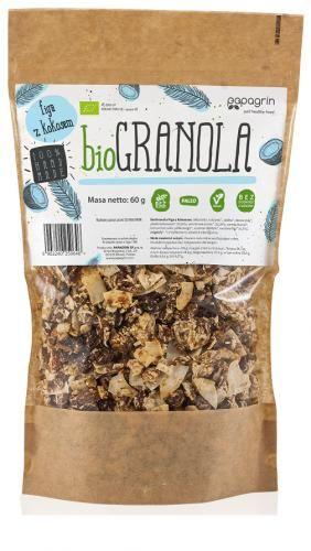 Granola figa z kokosem bezglutenowa BIO 60 g Papagrin