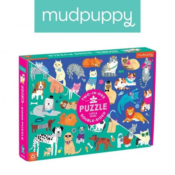 Mudpuppy - Puzzle Dwustronne Koty i Psy 100 Elementów 6+