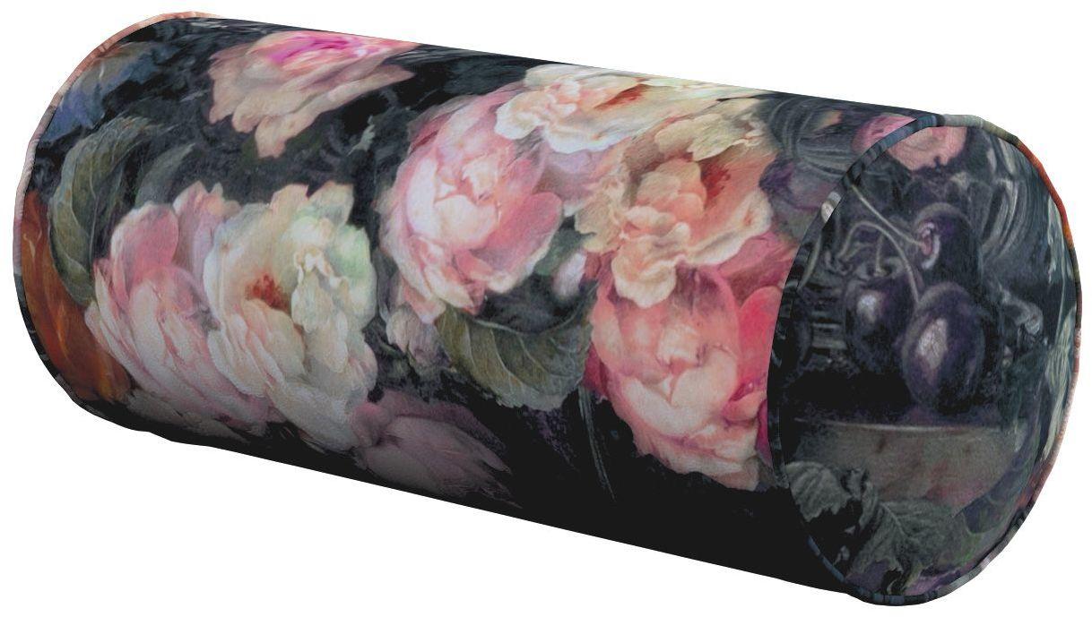 Poduszka wałek prosty, wielobarwne kwiaty na ciemnym tle, Ø16  40 cm, Gardenia