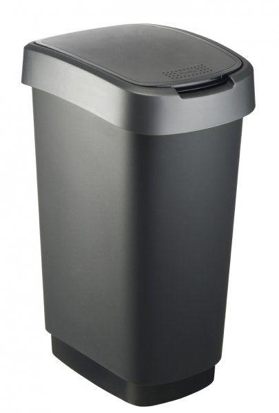Kosz na śmieci TWIST 25L czarno/srebrny