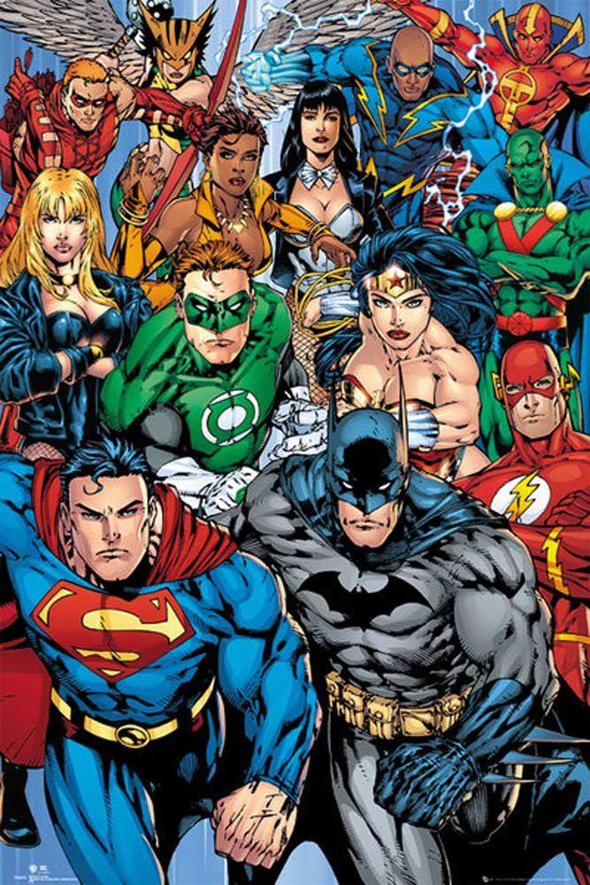 Plakat DC komiks kolaż z akcesoriami wielokolorowe
