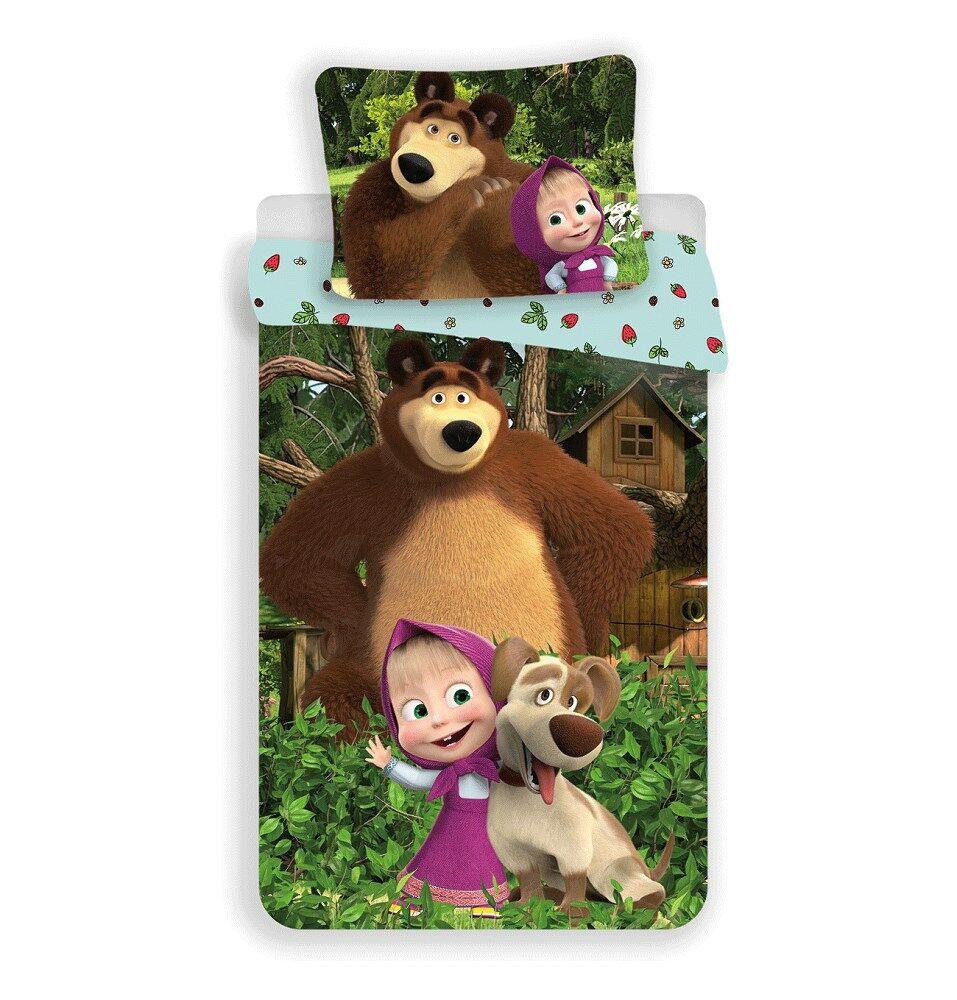 Pościel bawełniana 140x200 Masza i Niedźwiedź pies 6755 truskawki poszewka 70x90 Masha and the Bear dziecięca