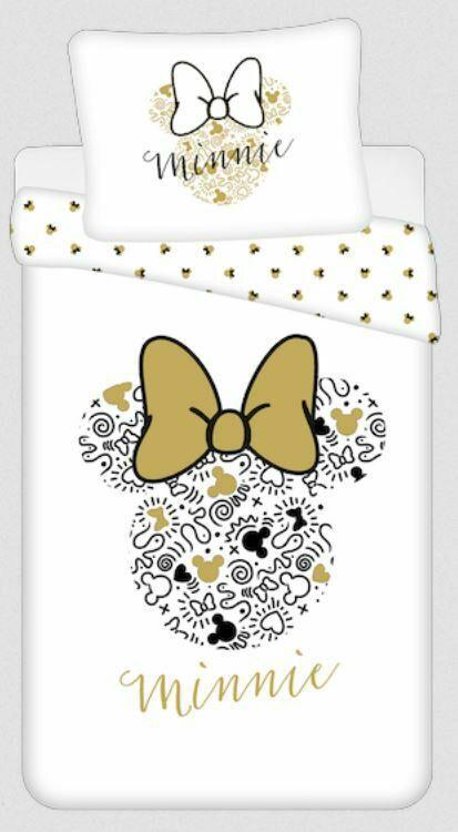 Pościel bawełniana 140x200 Minnie Gold Mini Myszka 8339 kokardy poszewka 70x90 biała beżowa