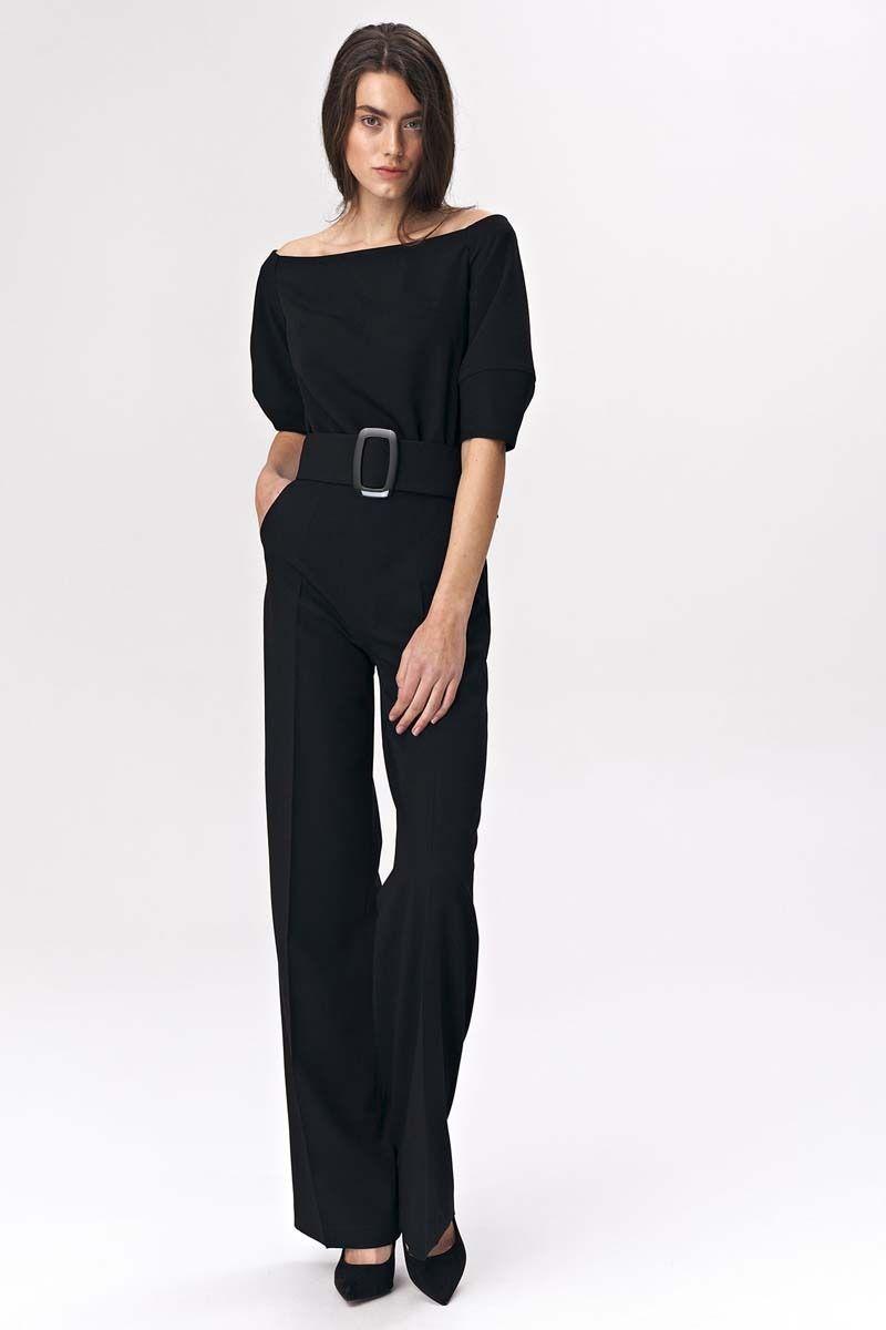 Czarny elegancki kombinezon z szerokim dekoltem