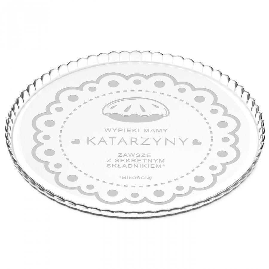 Patera szklana na ciasto bez nóżki grawer sekretny składnik miłość dl