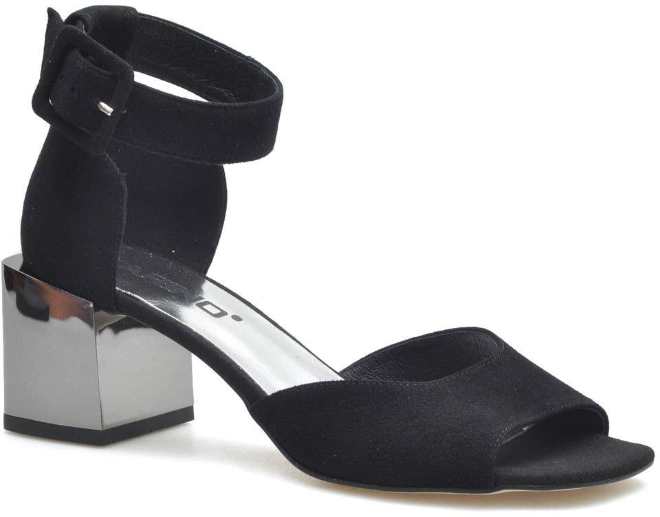 Czarne Zamszowe Sandały na Srebrnym Obcasie Karino