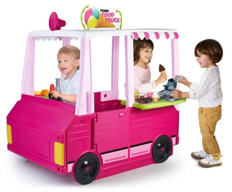 Feber Różowy Food Truck 2w1 Kuchnia i Pojazd Artykuły Spożywcze Akcesoria kuchenne 50 el.