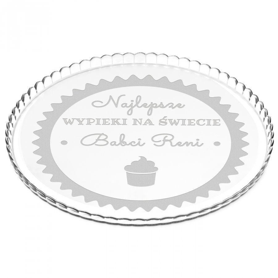 Patera szklana na ciasto bez nóżki grawer dla babci