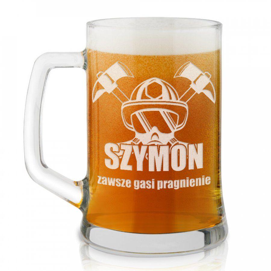 Kufel szklany do piwa z grawerem dla strażaka
