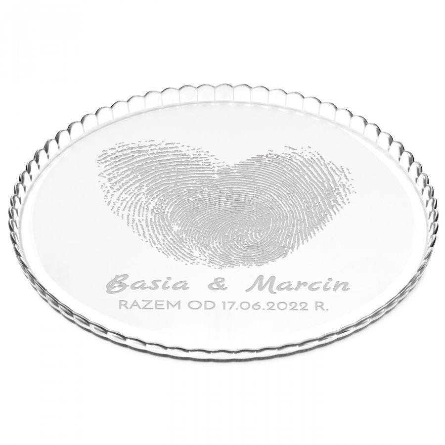 Patera szklana na ciasto bez nóżki grawer linie papilarne dla pary ś