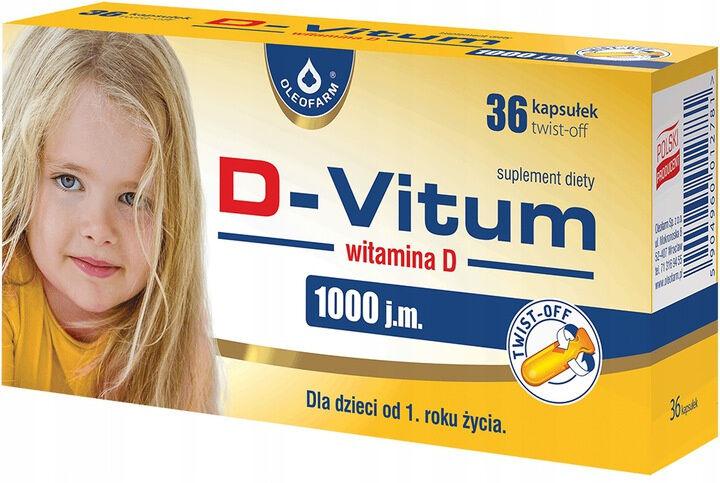 D-VITUM Witamina D 1000 j.m dla dzieci 36 kapsułek