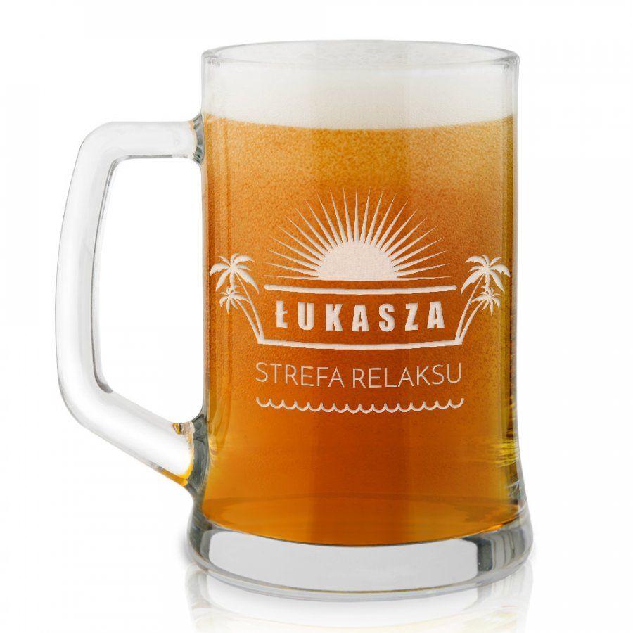 Kufel szklany do piwa z grawerem dla lenia emeryta na imieniny
