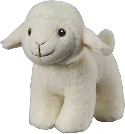Bauer Spielwaren I Like My Planet - Lamm: Przytulanka z miękkiego pluszu, wyprodukowana z przetworzonych butelek PET, w 100% z recyklingu, stojąca, 15 cm, biała (12917)